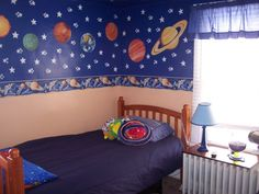 outer space room decor for boys Solar System Room, Outer Space Nursery, New Room, Kids Decor, Astronaut, Baby Things, Photo Library, Bedroom Ideas, Leo