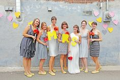 Love the different shades of gray with the same yellow shoes!