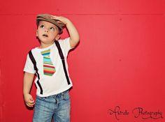 Multi Stripe Tie with Brown Suspenders Toddler Shirt.