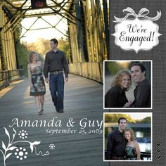 We're Engaged  Created by Leanne Bailey  Using B. & W. Tie the Knot and Save the Date Additions by Creative Memories  #Scrapbooking
