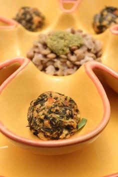 Almôndegas Verdes com Pesto de Sementes de Abóbora