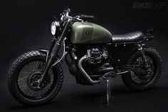 """Moto Guzzi NTX-Moto Guzzi scrambler, using not the V75 street bike, but the off-road variant,"""" says Venier. The NTX was a practical choice: although it's part of the V75 small block family, it was a true dual sport with an unusual lack of frame: the engine formed the connection between the steering head and the swingarm."""