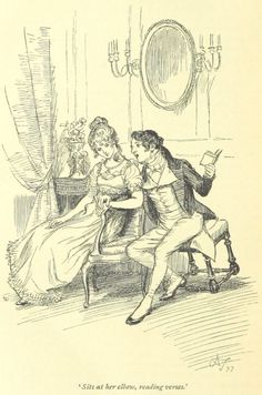 Jane Austen Persuasion - sits at her elbow, reading verses