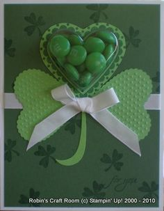 Stampin up Treat Cup St Patricks Day Cards, Saint Patricks, Mom Cards, St Paddys Day, Shaker Cards, Card Tags, Diy Projects To Try, Craft Fairs, Homemade Cards