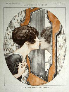 """vintageilike: """" """" C.Hérouard - La Vie Parisienne - 1919 - Mademoiselle Narcisse La Recompense """" """""""