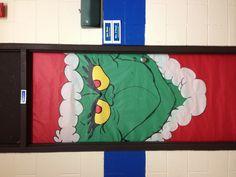 Dr. Suess's Grinch classroom door decoration.