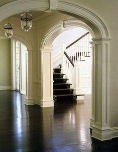 millwork is going to be a must for all my arched doorways! Millwork and crown molding.going to be a huge job but it's a must in a huge Victorian home! Style Deco, Home Living, Living Room, Wainscoting, Humble Abode, Architecture Details, My Dream Home, Arches, Future House