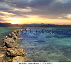 Scenic view of beautiful sunrise above the sea