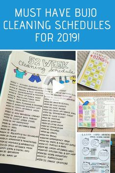 If you struggle to keep your home clean and tidy you're going to love today's Bullet Journal cleaning schedules. Pick out the spread that you love the most and stay on top of the chores once and for all! #bulletjournal #bulletjournaltemplate Bullet Journal Cleaning Schedule, Bullet Journal Tracker, Bullet Journal Inspiration, Journal Ideas, Bullet Journals, Bullet Journal Layout Templates, Cleaning Hacks, Cleaning Schedules, Cleaning Checklist