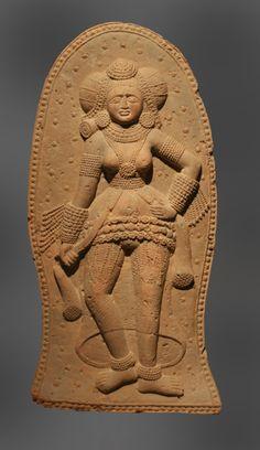 Galerie Alexis Renard  Terracotta Yakshi from Chandraketugarh   India, Bengal, Chandraketugarh  circa 2nd century BC, Sunga period  terracotta  35.5cm high  Brussels Oriental Art Fair 2009