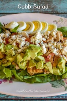 Healthy chicken cobb salad for one low carb yum recipe Salad Recipes Low Carb, Diet Recipes, Chicken Recipes, Cooking Recipes, Healthy Recipes, Recipe Chicken, Healthy Options, Recipies, Healthy Cooking