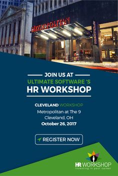 Join us October 26th in Cleveland for a complimentary HR workshop! You'll learn how to navigate unexpected changes in employment law, grow a passionate and engaged culture, and reduce turnover at your organization using analytics. Reserve your spot now: http://ulti.pro/2fhMh63