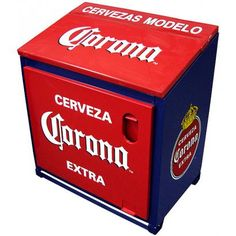 Chill your beer in style with this original metal icebox featuring the Corona Extra antique logo. Every cooler is constructed with insulated walls and lined with galvanized steel to keep your beer perfectly chilled. Nothing could be better for get-togethers with friends when there just isn't enough room in your refrigerator. Also makes an outstanding gift for any Corona lover.  Includes a stationary bottle opener on the front and a convenient drain pipe underneath.  Holds up to 60 bottles.