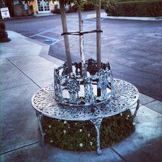 Metal circular bench Grover Beach CA