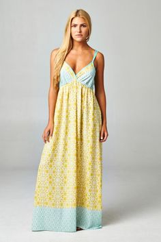 Pink Coconut Boutique | Another Day In Paradise Maxi Dress - YELLOW/Mint (final sale/no return)