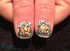 Christmas turkey with all the trimmings… Funky Nails, My Nails, Nice Nails, Christmas Nails, Christmas Themes, Thanksgiving Nail Art, Thanksgiving Turkey, Food Nail Art, Merry Christmas Everybody