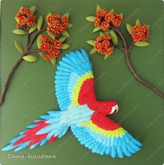 Painting mural drawing Masterclass Birthday Bumagoplastika Quilling Flying parrot and MK Sand Paper Wire photo 1