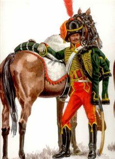 Hussars were modeled after Eastern European light cavalry, and were used to chase retreating enemies and scouting. Military Art, Military History, Military Uniforms, Warrior Paint, French History, French Empire, French Army, Illustration, Napoleonic Wars