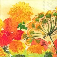 3174 Servilleta decorada flores
