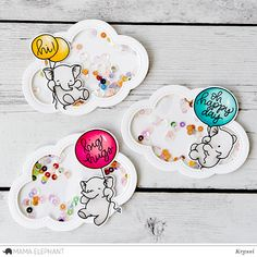 Ellen Hutson, LLC features Mama Elephant Clear Stamps, Fly With Me. Baby Scrapbook, Scrapbook Cards, Mama Elephant Stamps, Karten Diy, Elephant Design, Shaker Cards, Animal Cards, Baby Cards, Creative Crafts