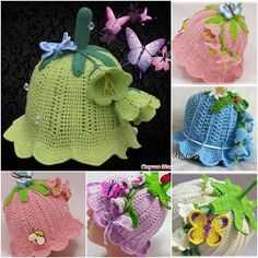 crochet girls hats #5 | Pretty Crochet Girls Bluebell Beanie Hat