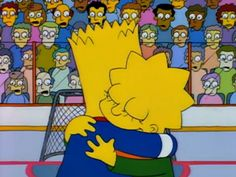 "Bart and Lisa hug in ""Lisa on Ice"" Lisa Y Bart, Bart And Lisa Simpson, Homer Simpson, The Simpsons, Simpsons Episodes, Simpsons Drawings, Simpson Wallpaper Iphone, Die Sims, Homer And Marge"