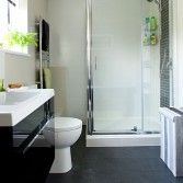 White and grey tiled bathroom