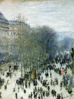 """Impressionismo- """" Boulevard des Capucines""""-Claude Monet, 1873. Borrões para dar movimento."""