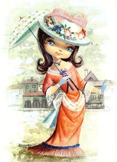 Images Vintage, Vintage Art, Vintage Greeting Cards, Vintage Postcards, Vintage Girls, Vintage Children, Cute Images, Cute Pictures, Vintage Illustration