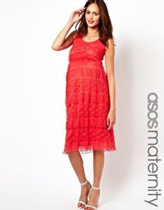Image 1 ofASOS Maternity Vest Midi Dress in Lace