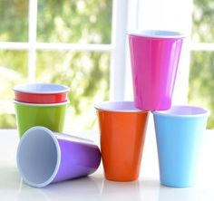 Glitterville Reusable Melamine Kids Cups / Glasses, 4.75 Inches, Set of 6.  Love the colors!  Perfect, eco-friendly set.