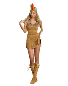Queen of the Tribe Adult Women's Costume at Spirit Halloween - You'll put the chief out of work in this Queen of the Tribe Adult Women's Costume. No one will mind taking orders from you in this sexy fringed low cut dress with sequin adorned neckline and matching fluffy feather headpiece. Get yours for $49.99.