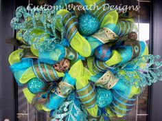 Lime and Turquoise Peacock Ultra Mesh Wreath by lilmaddydesigns, $165.00