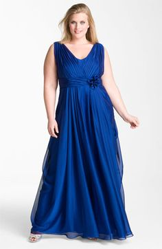 JS Collections Draped Cationic Chiffon Gown (Plus) | Nordstrom