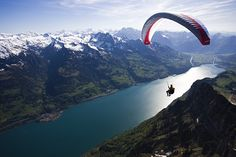 Paragliding, Walensee, Alps, Switzerland. Oo paragliding. I would love to do this!