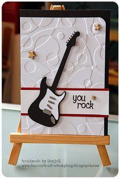 SonjaK - The Art of Stamping: You Rock - Eine Männerkarte Masculine Birthday Cards, Handmade Birthday Cards, Masculine Cards, Happy Birthday Cards, Greeting Cards Handmade, Cards For Men, Boy Cards, Kids Cards, Cute Cards