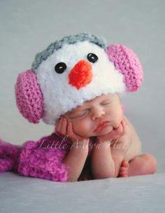 Newborn Baby Crochet Snowman with Pink Earmuffs Hat and Scarf Set Photo Prop | eBay