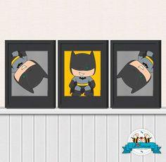 Cute Batman Wall Art Printable Poster- Digital Wall Art - Printable Art - Nursery Art - Kids Art - Superhero via Etsy