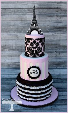 eiffel tower, french inspired, pink white and black, stripes, damask, ruffles, monogram