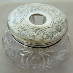 Antique Sterling Silver American Brilliant Period Cut Glass Hair Receiver from Antik Avenue Exclusively on Ruby Lane