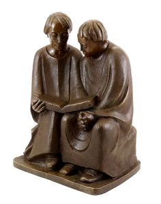 "Ernst Barlach's ""Reading Monks"" are the epitome of escape from the banal everyday life. The monks seek fulfillment in a spiritual and contemplative world. They are concentrated to an open book. Carved in 1932."