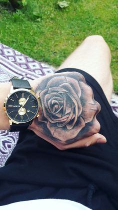 Rose Rose Tattoos For Men, Hand Tattoos For Women, Mens Hand Tattoos, Rose Hand Tattoo, Hand Tats, Lion Tattoo Sleeves, Best Sleeve Tattoos, Rose Tattoo Meaning, Tattoos With Meaning