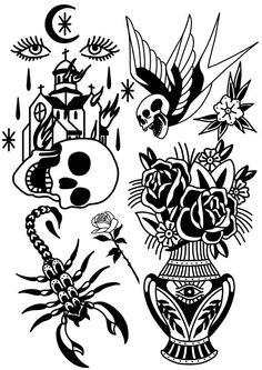 Old Tattoos, Black Ink Tattoos, Body Art Tattoos, Small Tattoos, Traditional Tattoo Design, Traditional Tattoo Flash, Tattoo Sleeve Designs, Sleeve Tattoos, Tattoo Sketches