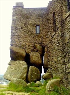 Close-up of the rock foundation of Carn Brae Castle, originally built in 1379, Redruth, Cornwall, England