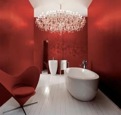 39 Cool And Bold Red Bathroom Design Ideas | DigsDigs  Red bathroom w/ the chandelier?? ...sicc!! =)