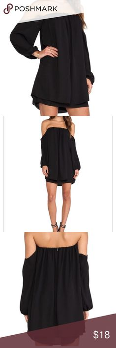 Final price New off the shoulder black dress New never worn off the shoulder black dress Sleeve Length(cm) :40cm Material : Polyester Bust(cm) : 84cm Length(cm) : 84cm Dresses