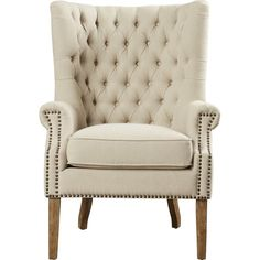 Inspired by early 19th century designs, this tufted wingback arm chair brings classic appeal to your living room or study ensemble. Boasting a solid Oak frame, linen upholstery, and individually hand-applied nail-head trim and while the sharp curves complete the sophisticated look.