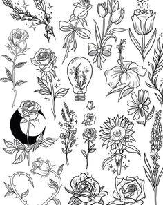 Tattoo Flash Sheet, Tattoo Flash Art, Flash Tattoos, Tatoos, Ship Tattoos, Arrow Tattoos, Word Tattoos, Mini Tattoos, Flower Tattoos