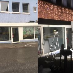 Vorher - Nachher Foto unserer Werbetechnikmaßnahmen einer bekannten Shisha Bar.