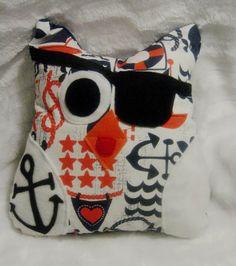 JAManimals Tattoo Pirate Owl Pillow Pirate Owl Plush Nautical nursery